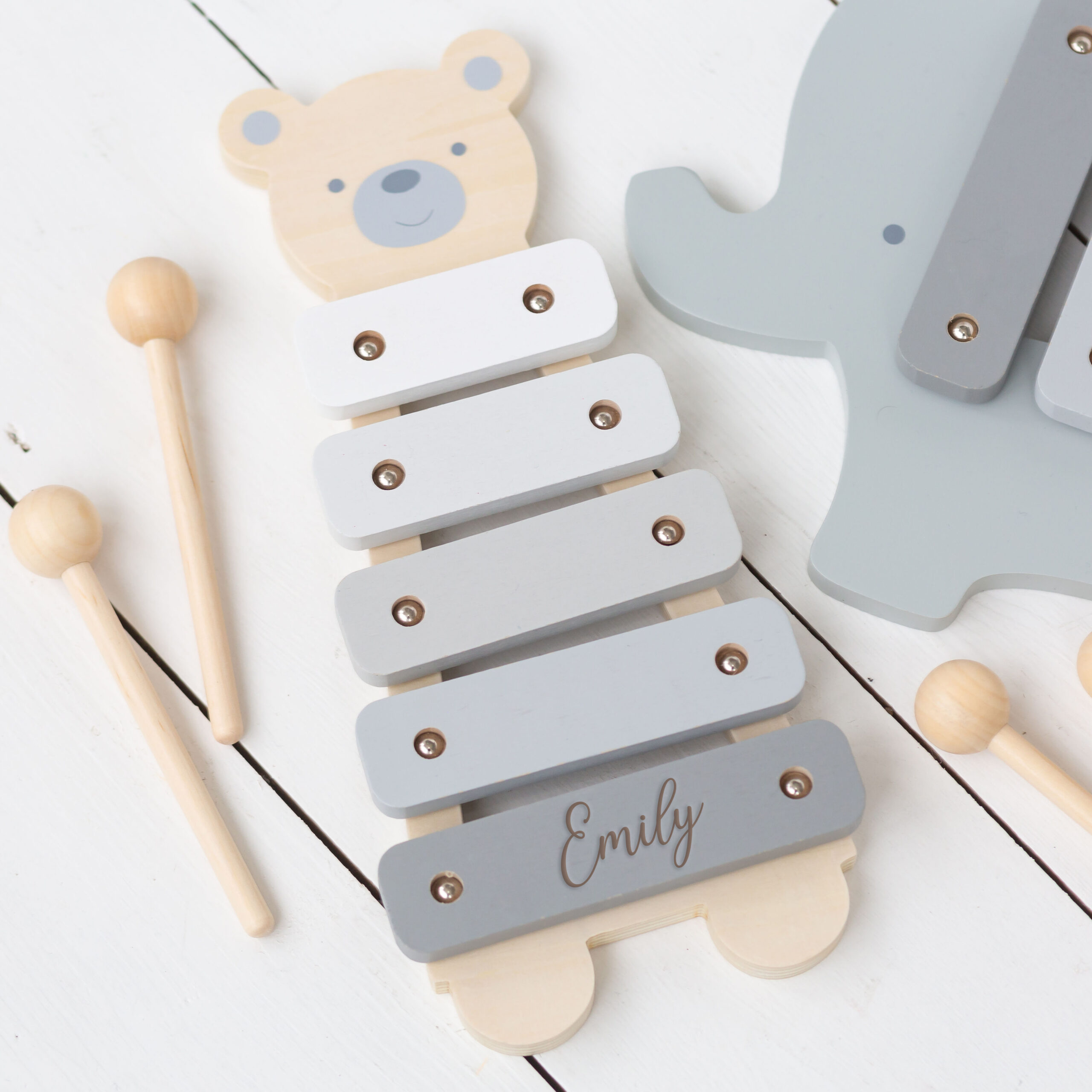 Personalised Kids Wooden Teddy Xylophone Toy