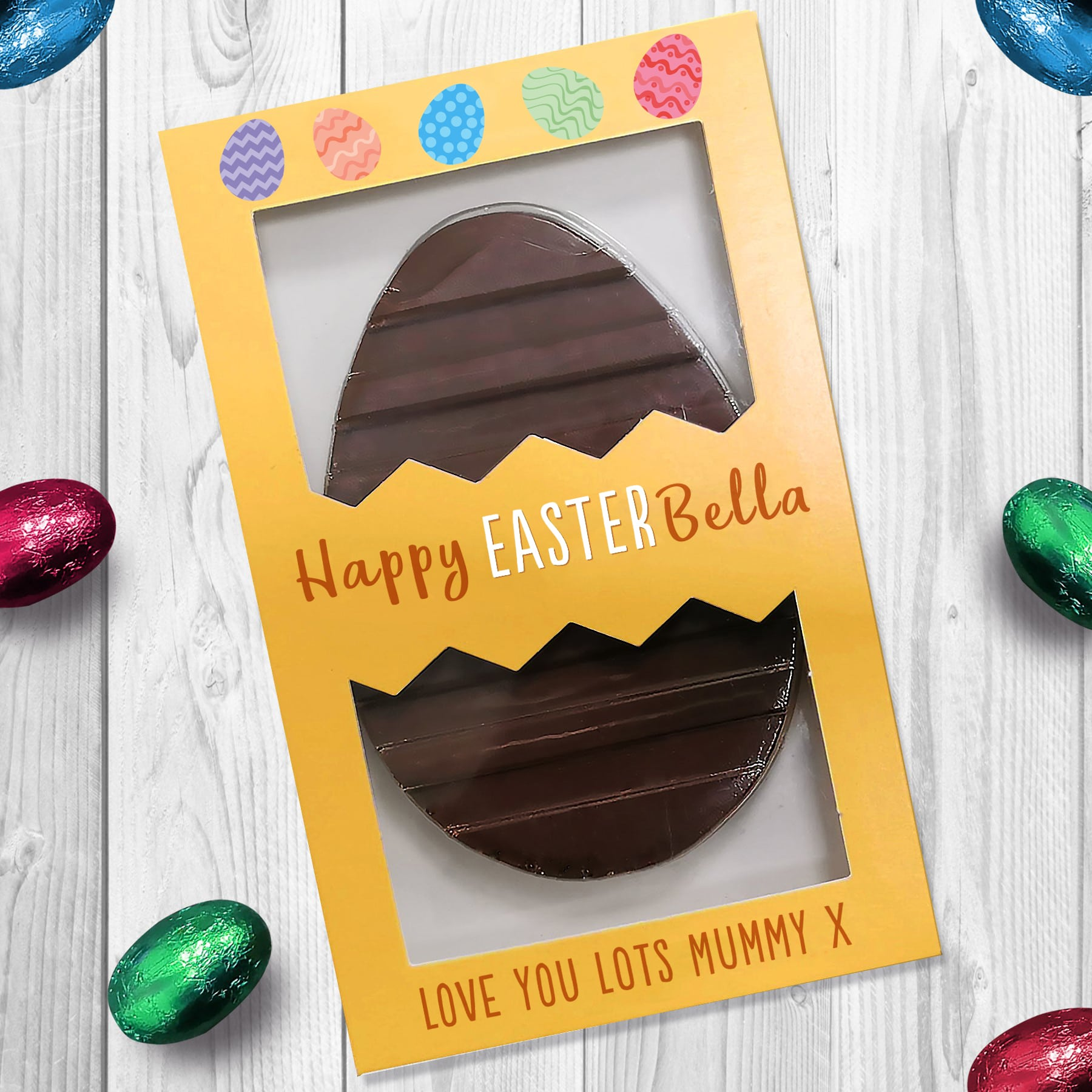 Letterbox 'Happy Easter' Flat Milk Chocolate Egg