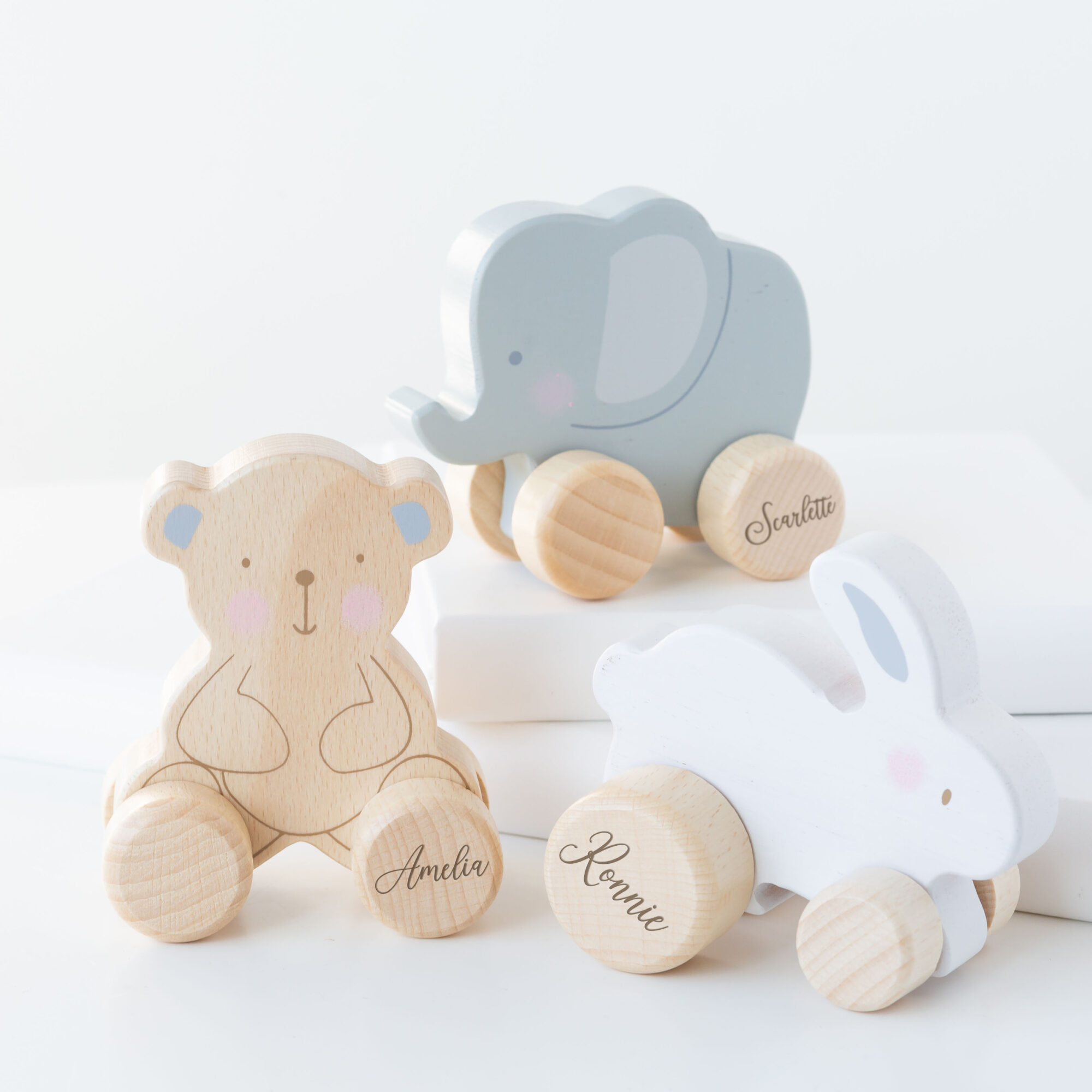 Personalised Wooden Elephant, Teddy or Bunny Push Toy