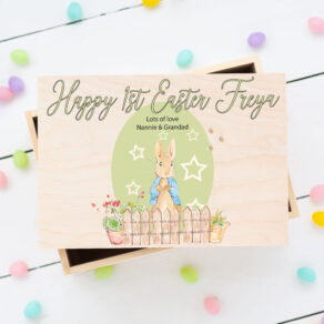 Personalised Wooden Easter Bunny Rabbit Box Green Egg