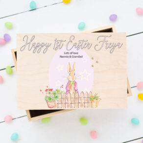 Personalised Wooden Easter Bunny Rabbit Box Pink Egg
