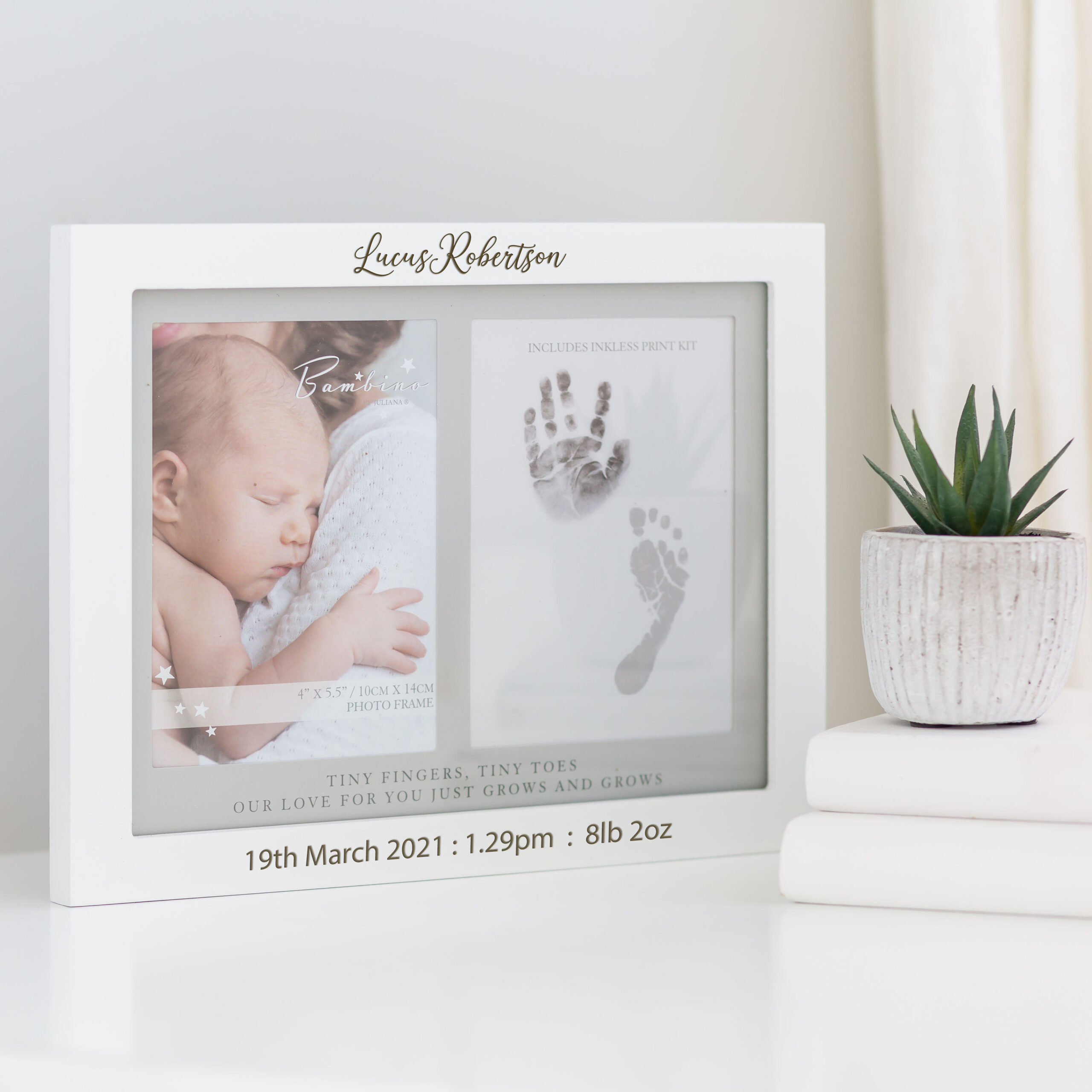 Personalised Baby White Inkless Hand & Foot Frame