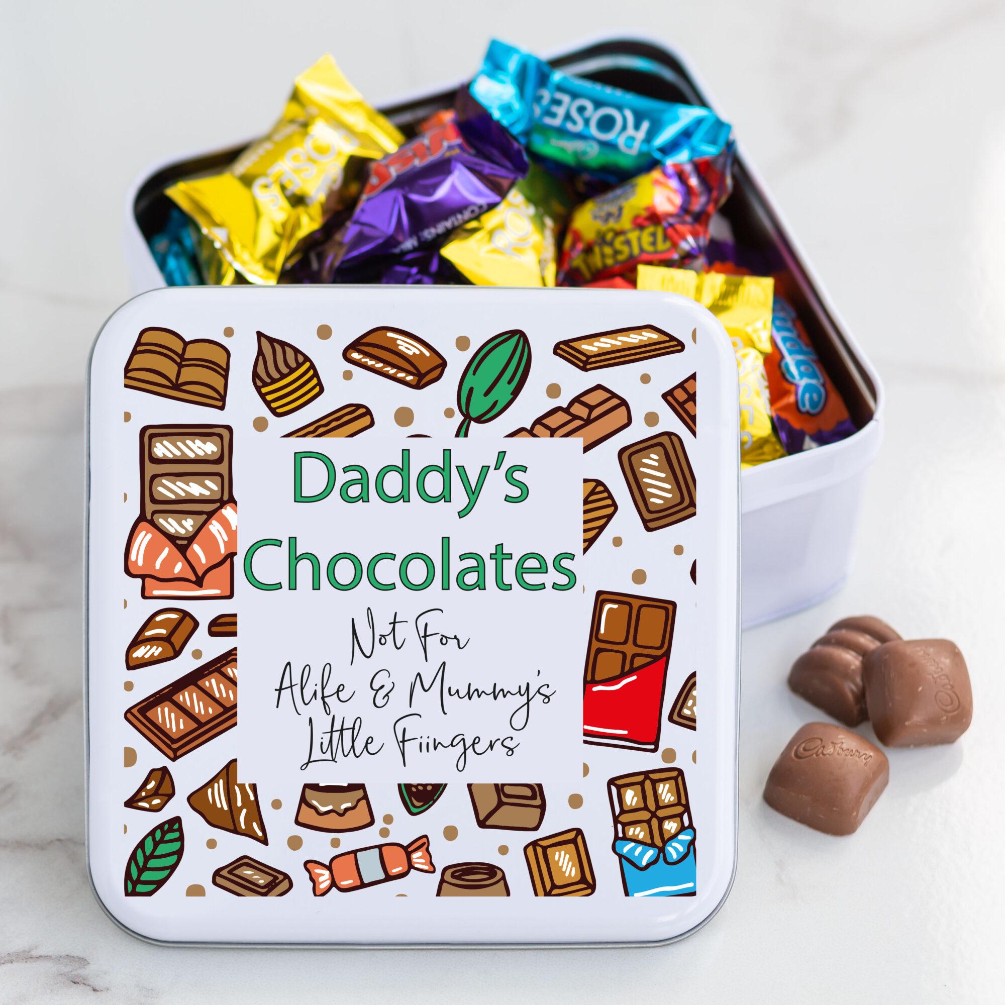 Personalised Metal Square Chocolate Tin