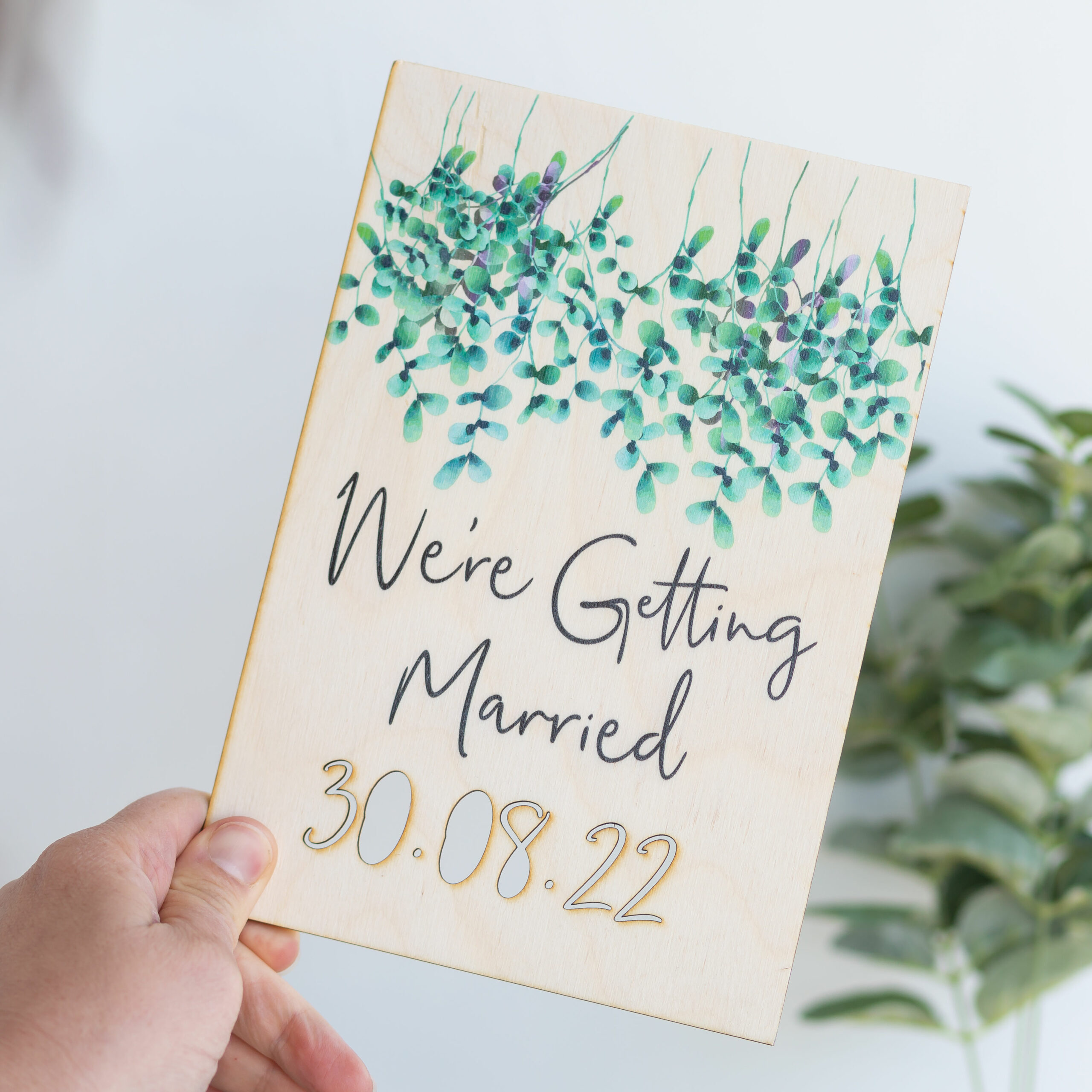 Personalised Wooden Getting Married Cut Out Plaque