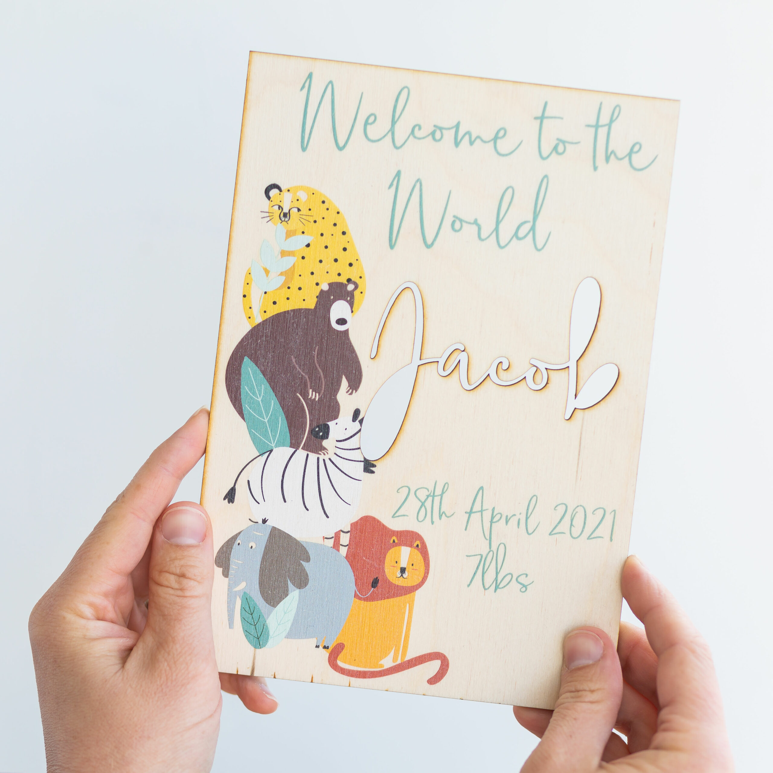 Personalised Wooden Welcome Safari Cut Out Plaque