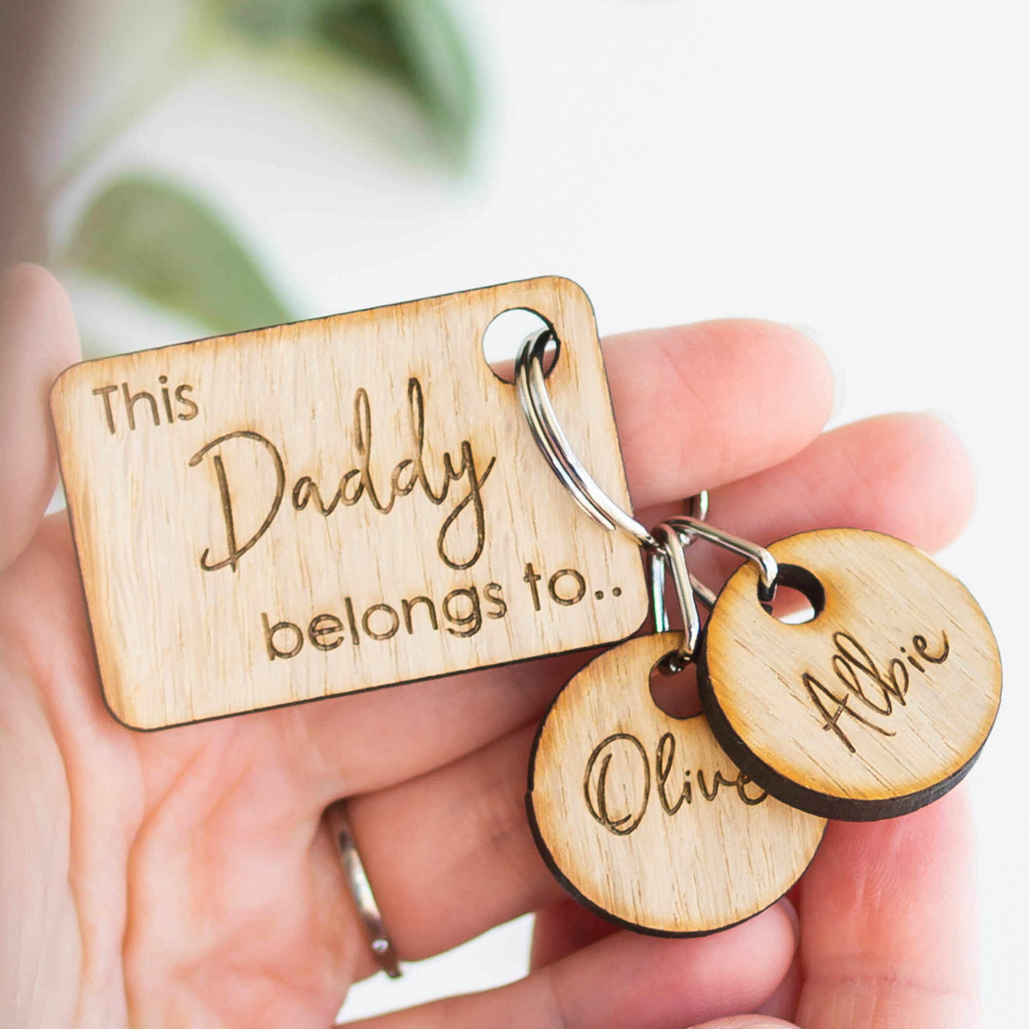 Personalised Wooden Daddy Belongs To Family Tag Keyring