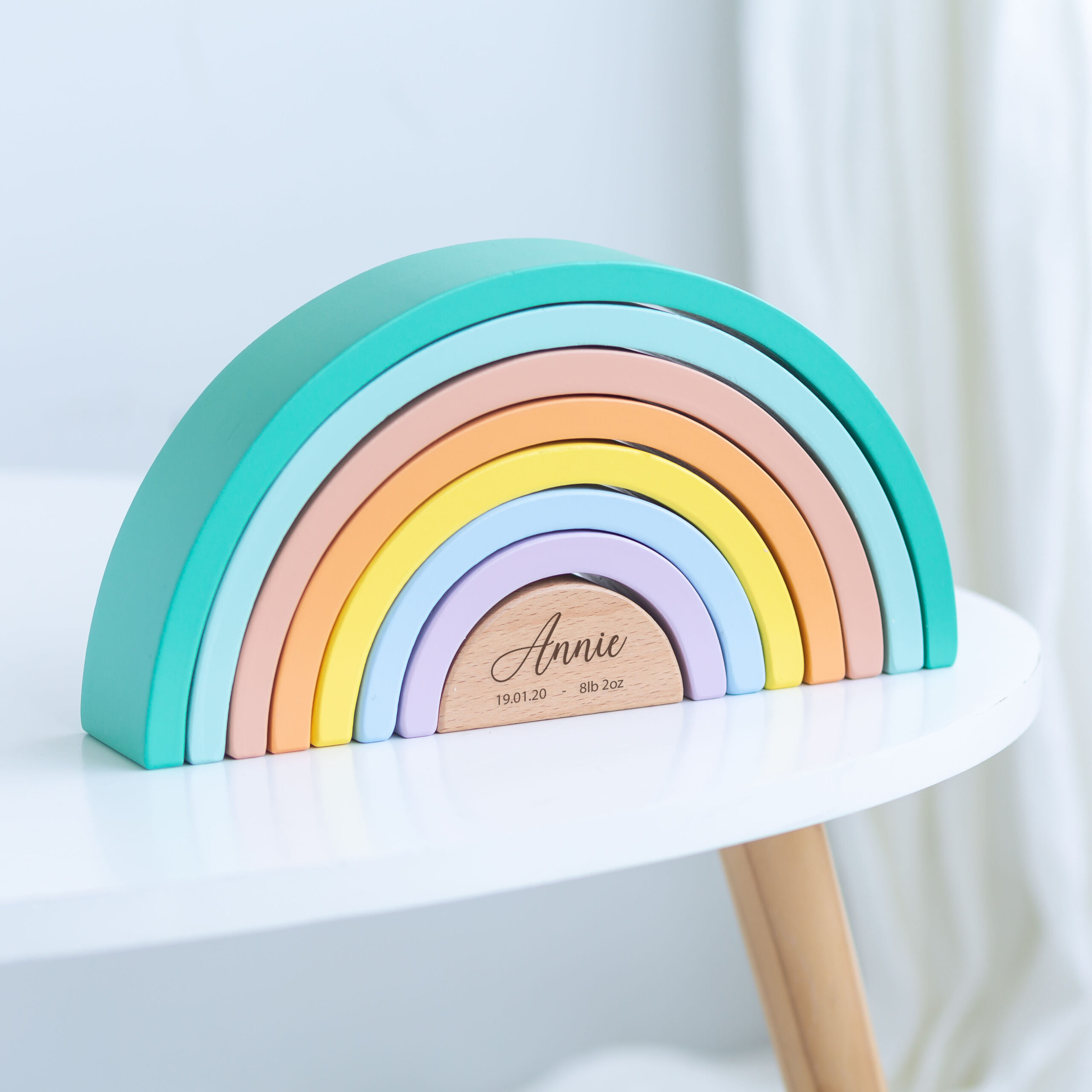Personalised Kids Wooden Pastel Stacking Rainbow