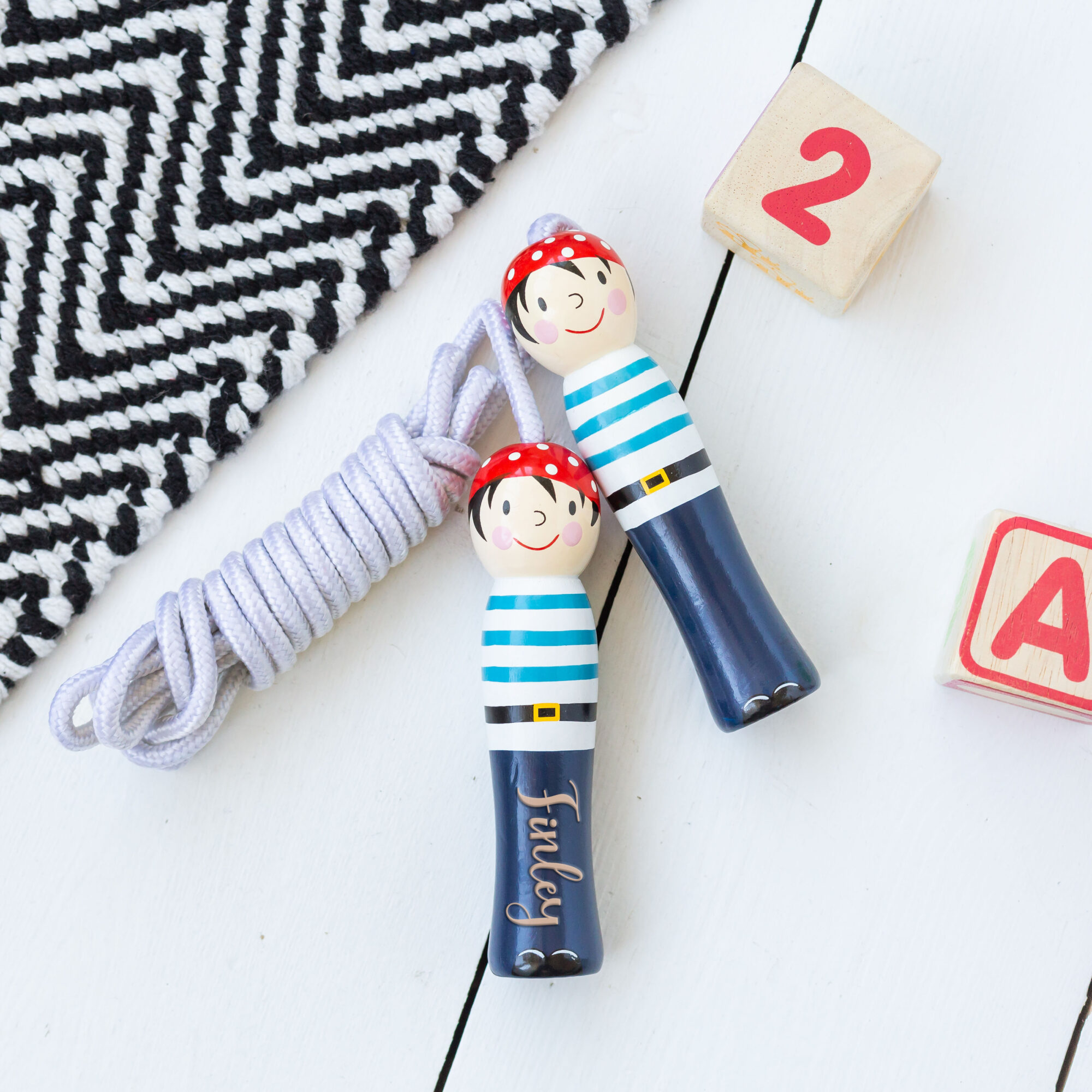 Personalised Pirate Wooden Skipping Rope Toy
