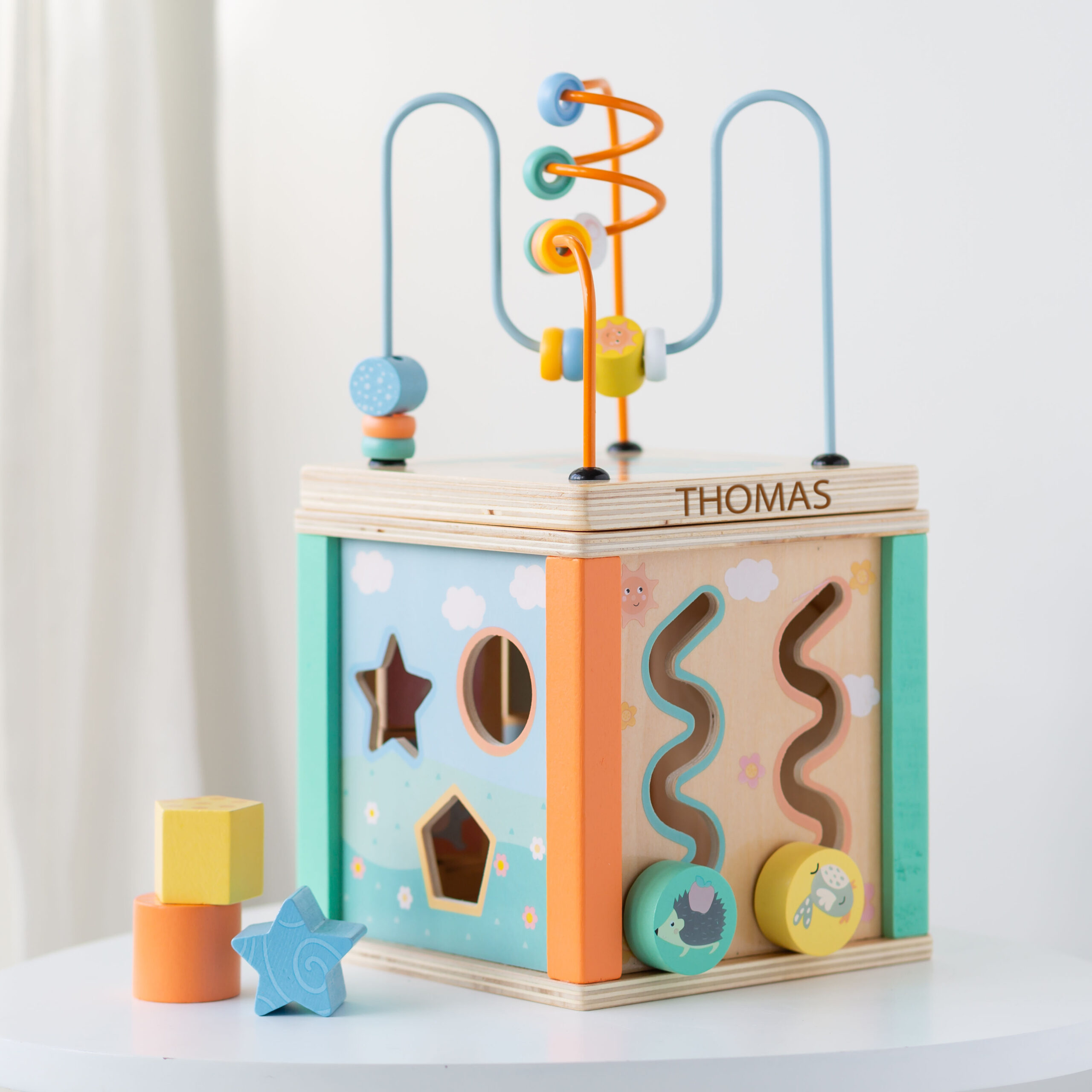Personalised Kids Wooden Toy Motor Activity Cube
