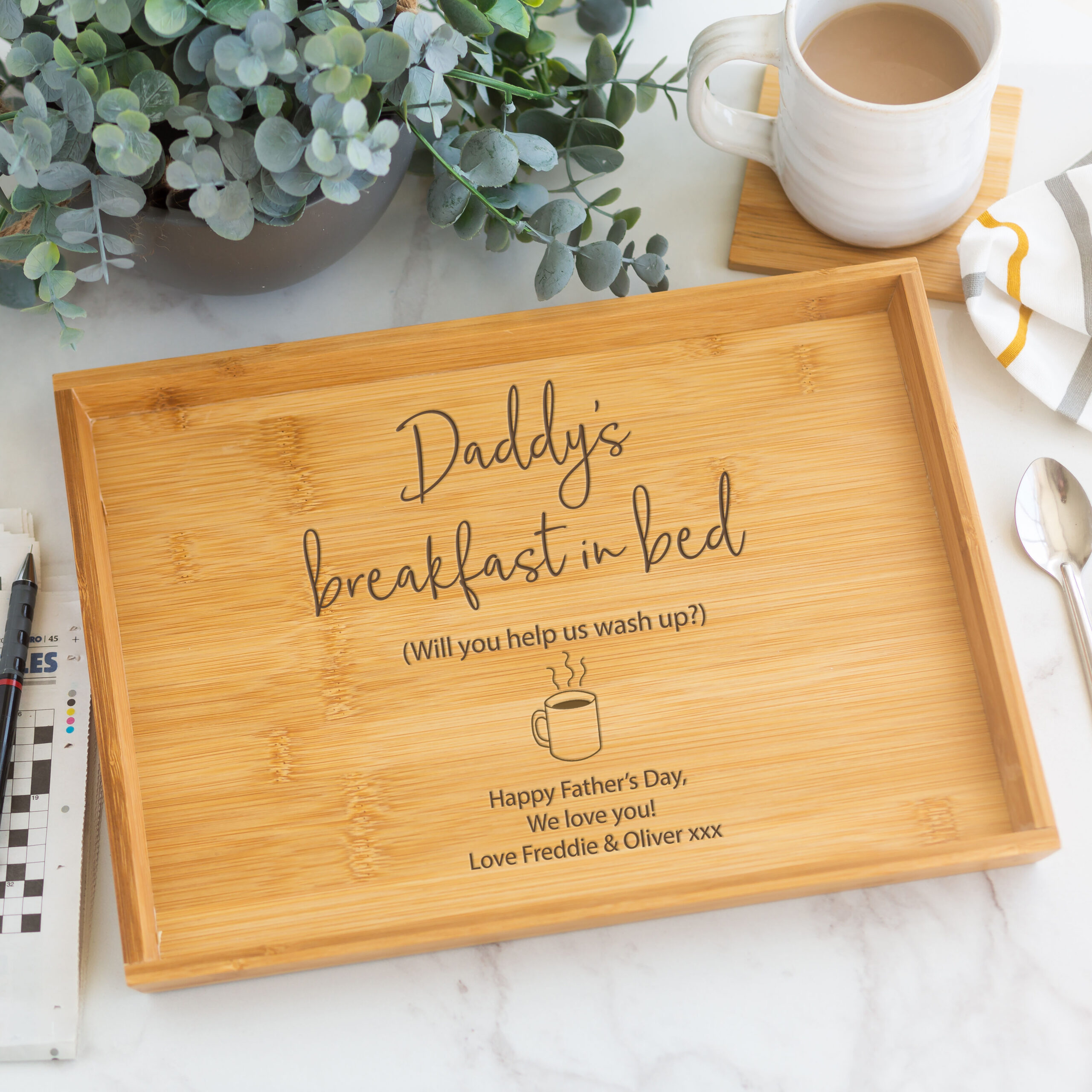 Personalised Wooden Breakfast In Bed Tray
