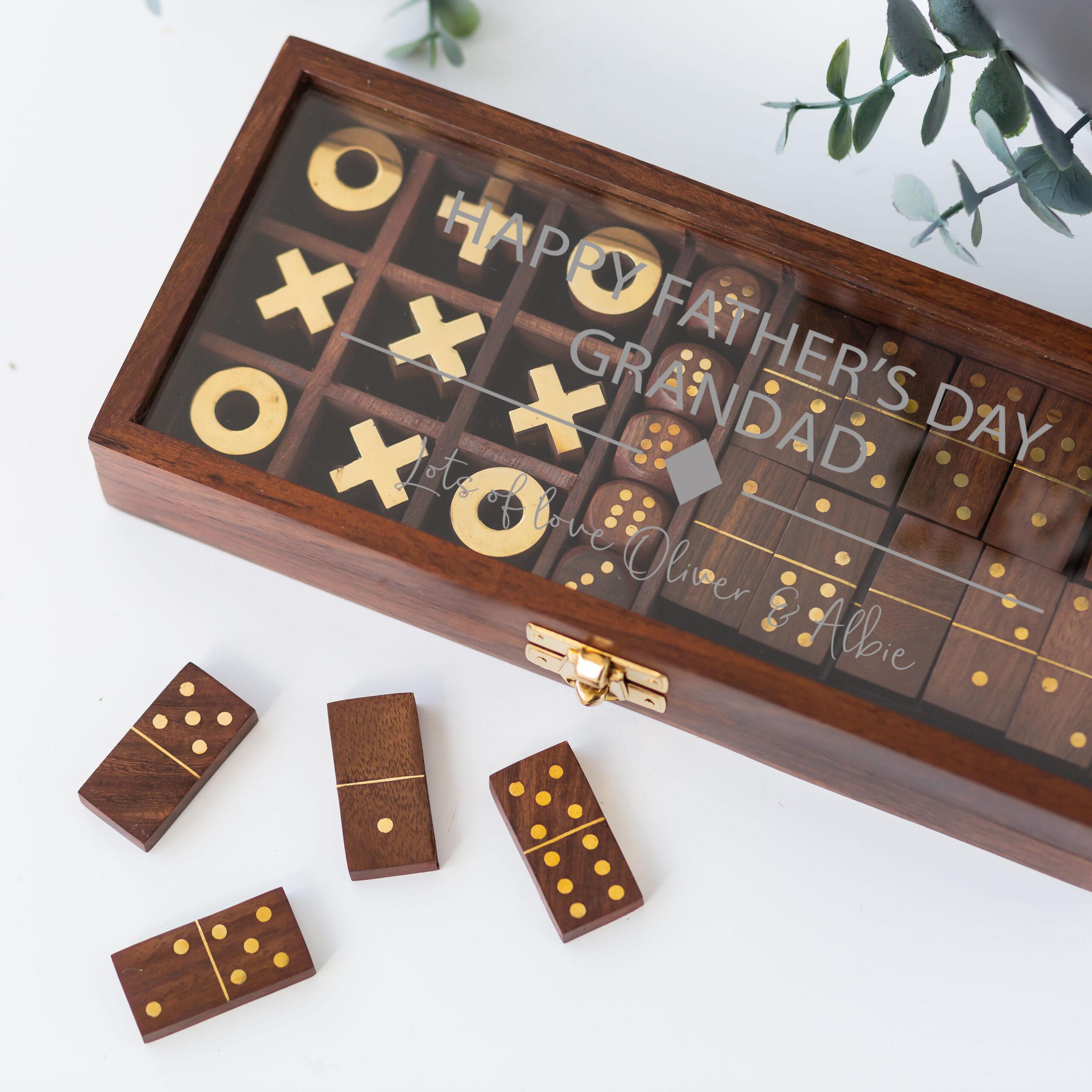 Personalised Wooden Dominoes, Dice & Tic Tac Toe Box