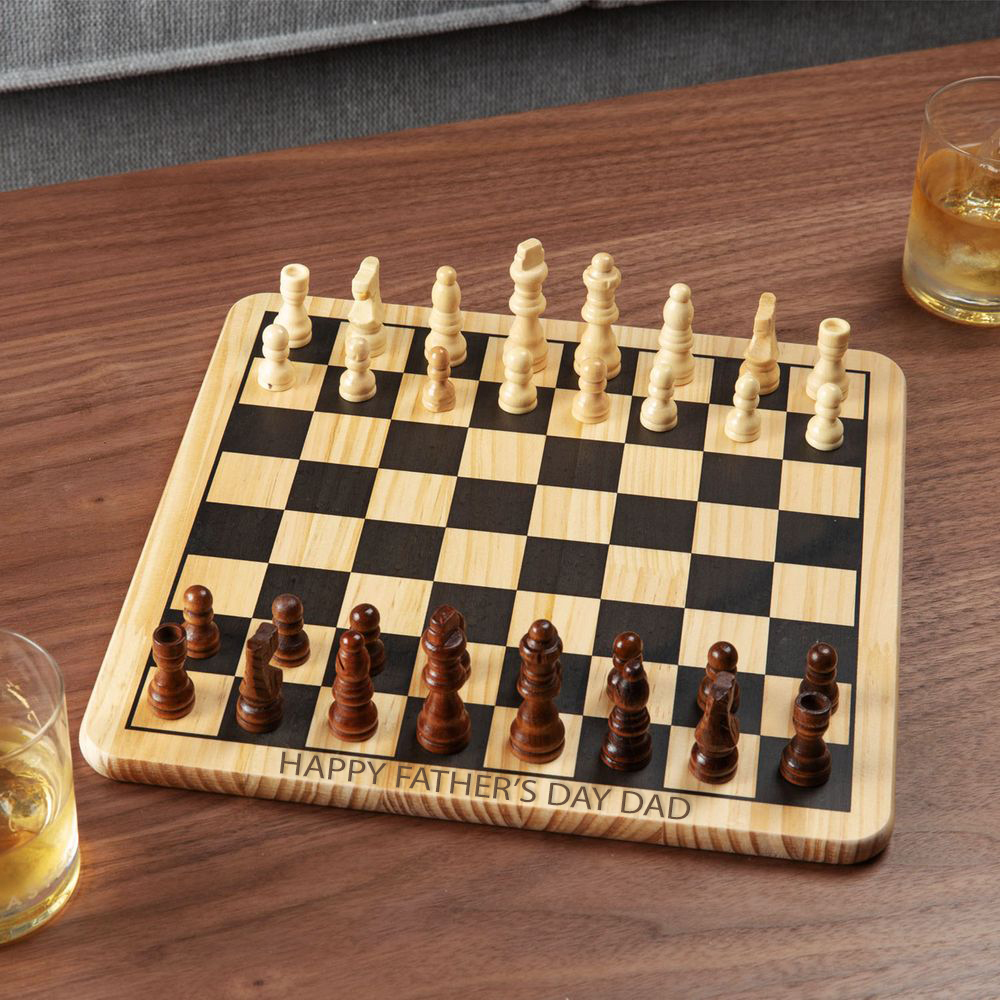 Personalised Wooden Harvey's Chess Games Board