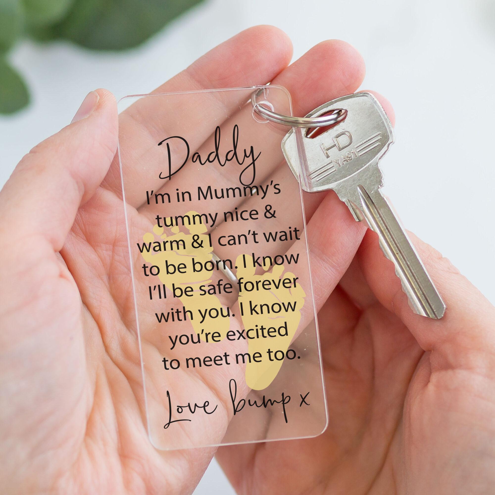 Personalised Acrylic Pregnancy Keyring