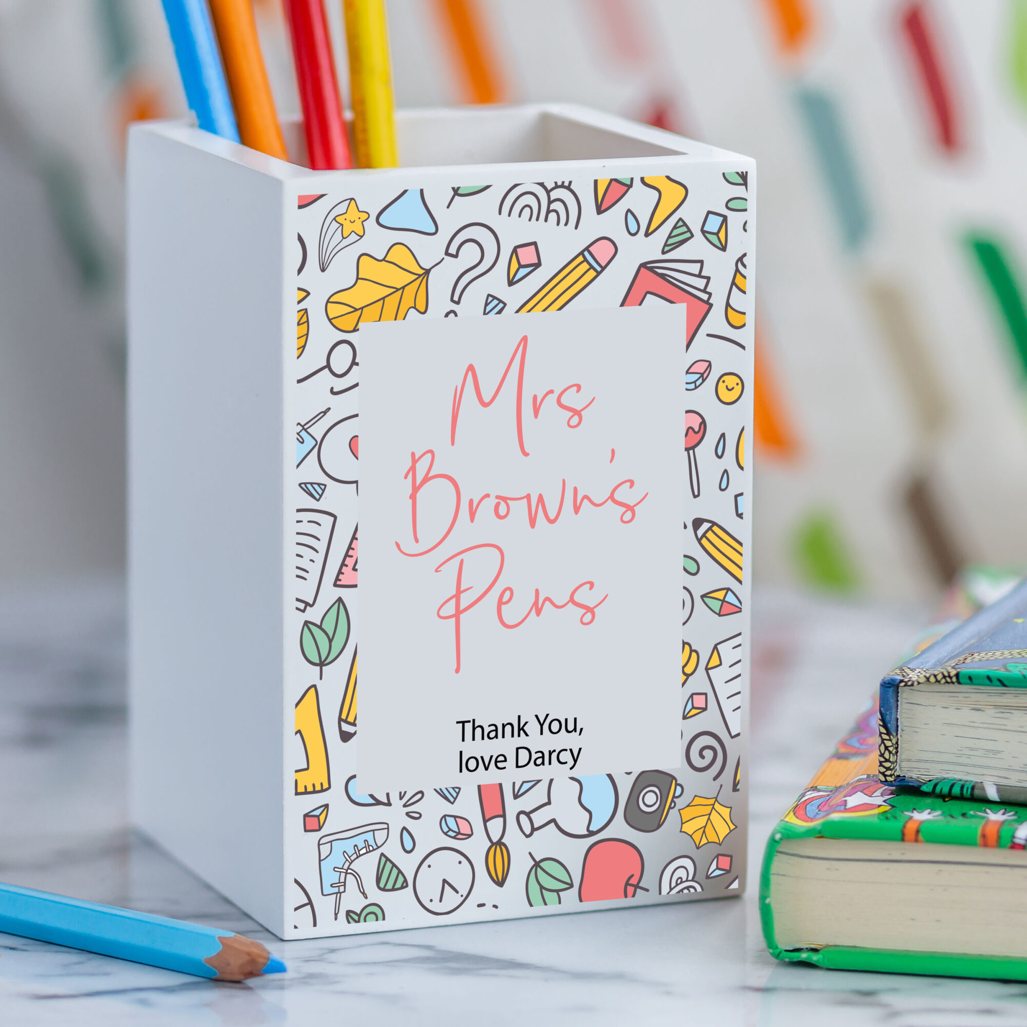 Personalised White Wooden Teacher Pencil Pot