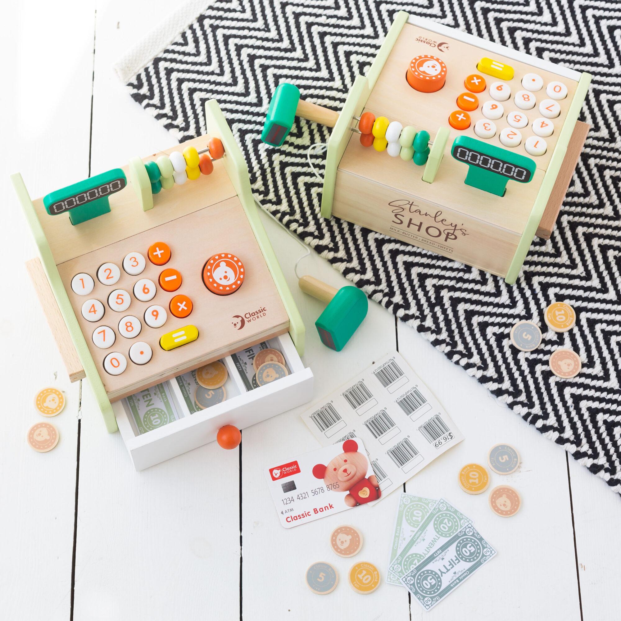 Personalised Kids Wooden Toy Till - Cash Register