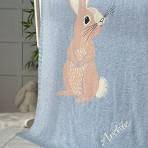 Bizzi Growin Personalised Cotton Tail Bunny Baby Pram Blanket