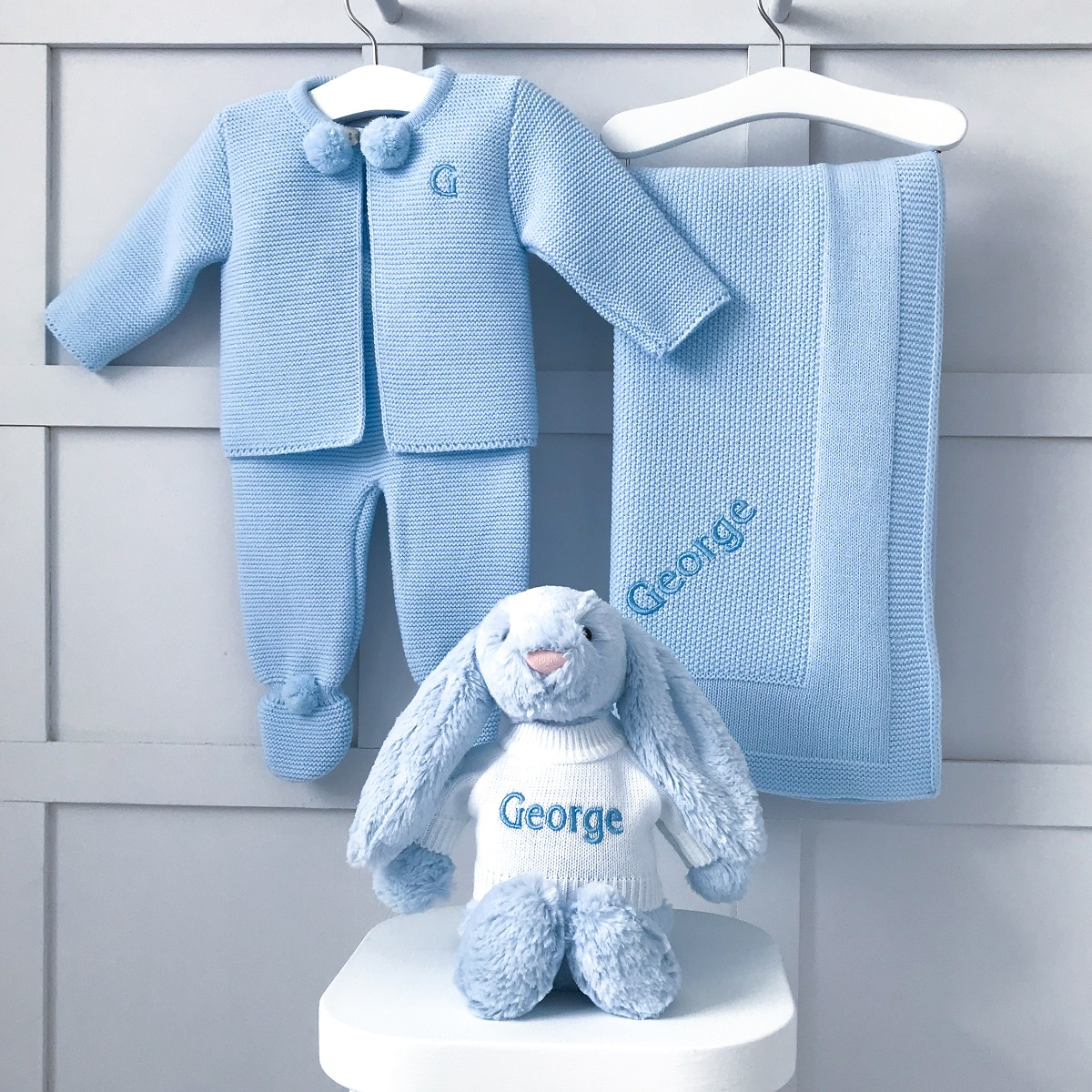 Dandelion Personalised Blue Receiving Shawl, Knitted Jacket and Leggings and Jellycat Bashful Bunny Gift Set