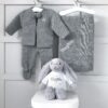 Dandelion Personalised Grey Receiving Shawl, Knitted Jacket and Leggings and Jellycat Bashful Bunny Gift Set