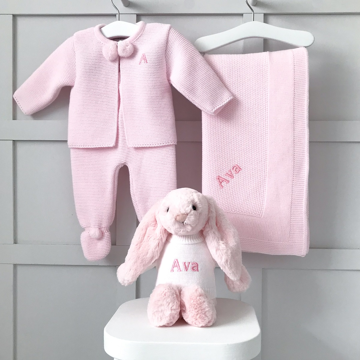 Dandelion Personalised Pink Receiving Shawl, Knitted Jacket and Leggings and Jellycat Bashful Bunny Gift Set
