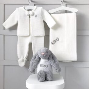 Dandelion Personalised White Receiving Shawl, Knitted Jacket and Leggings and Jellycat Bashful Bunny Gift Set