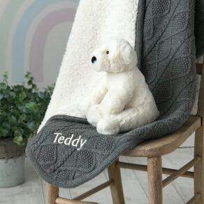 Ziggle Personalised Sherpa Fleece Cable Baby Blanket and Jellycat Perry Polar Bear Gift Set
