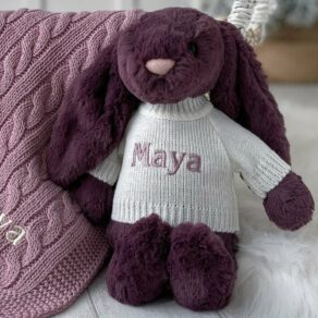 Personalised Jellycat Plum Bashful Bunny