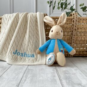 Toffee Moon Personalised Luxury Cable Baby Blanket and Peter Rabbit Soft Toy