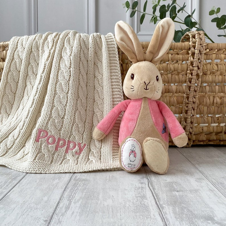 Toffee Moon Personalised Luxury Cable Baby Blanket and Flopsy Bunny Soft Toyk Cable Baby Blanket and Jellycat Bashful Bunny