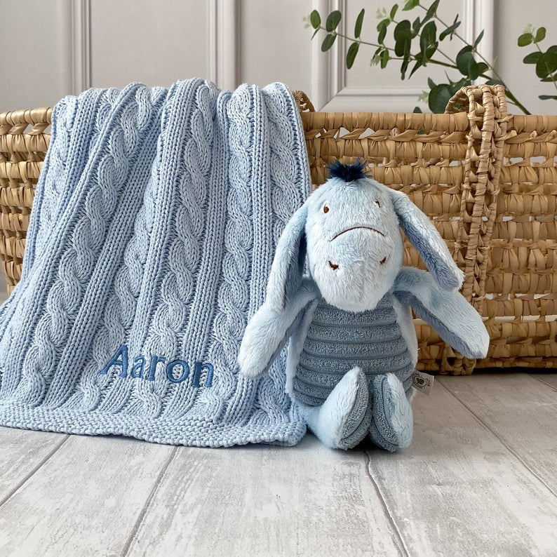 Toffee Moon Personalised Luxury Cable Baby Blanket and Eeyore Soft Toy