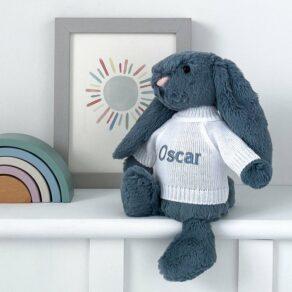 Personalised Jellycat Dusky Blue Bashful Bunny