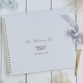 Personalised Large Floral Grey Wedding Day Scrapbook