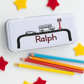 Personalised Kids Traffic Theme Metal Pencil Case Tin