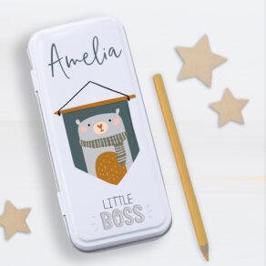 Personalised Kids Little Boss Metal Pencil Case Tin
