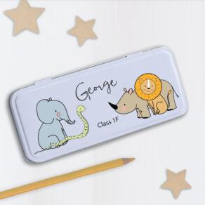 Personalised Kids Safari Theme Metal Pencil Case Tin
