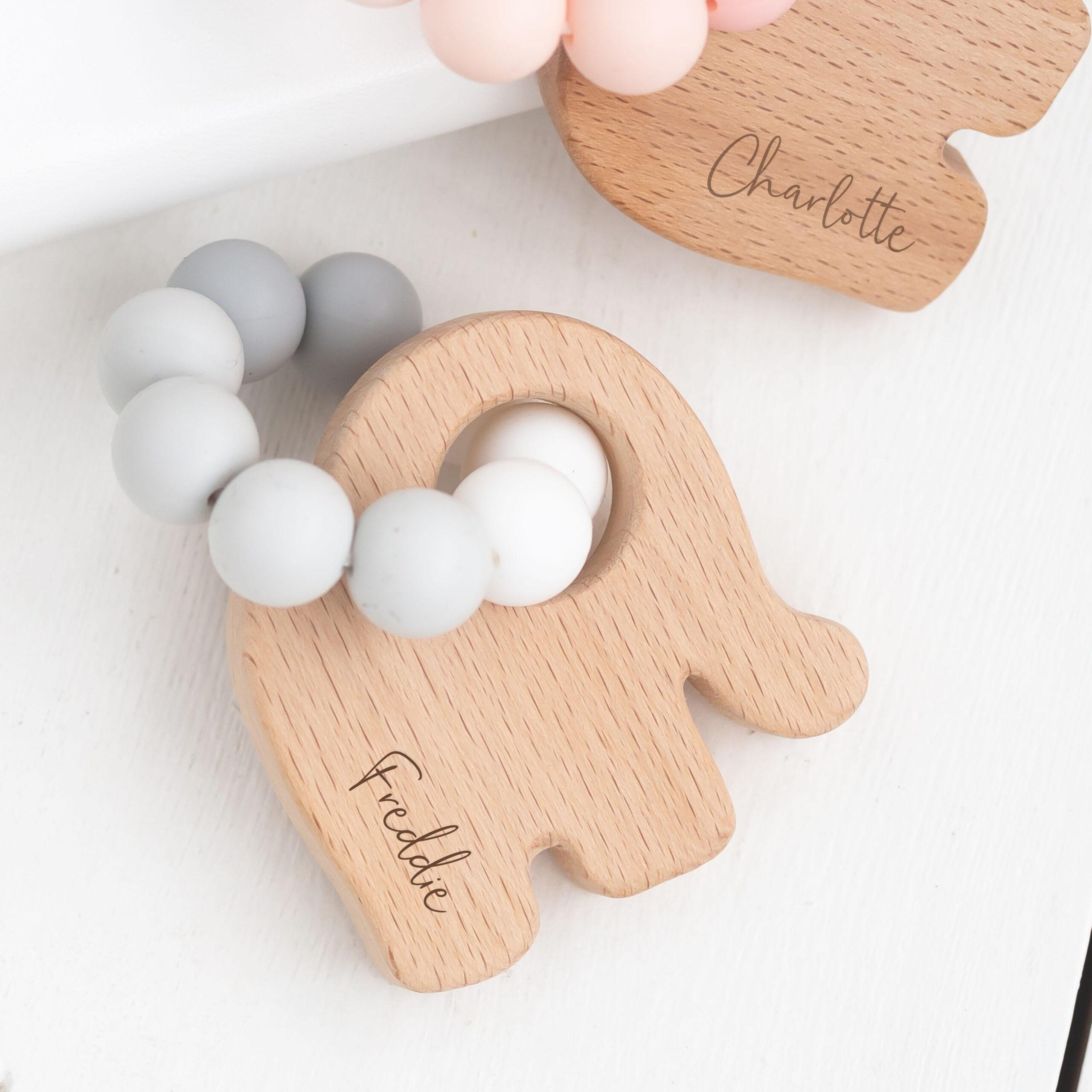 Bambino Eco-Friendly Wooden Grey Elephant Teething Toy