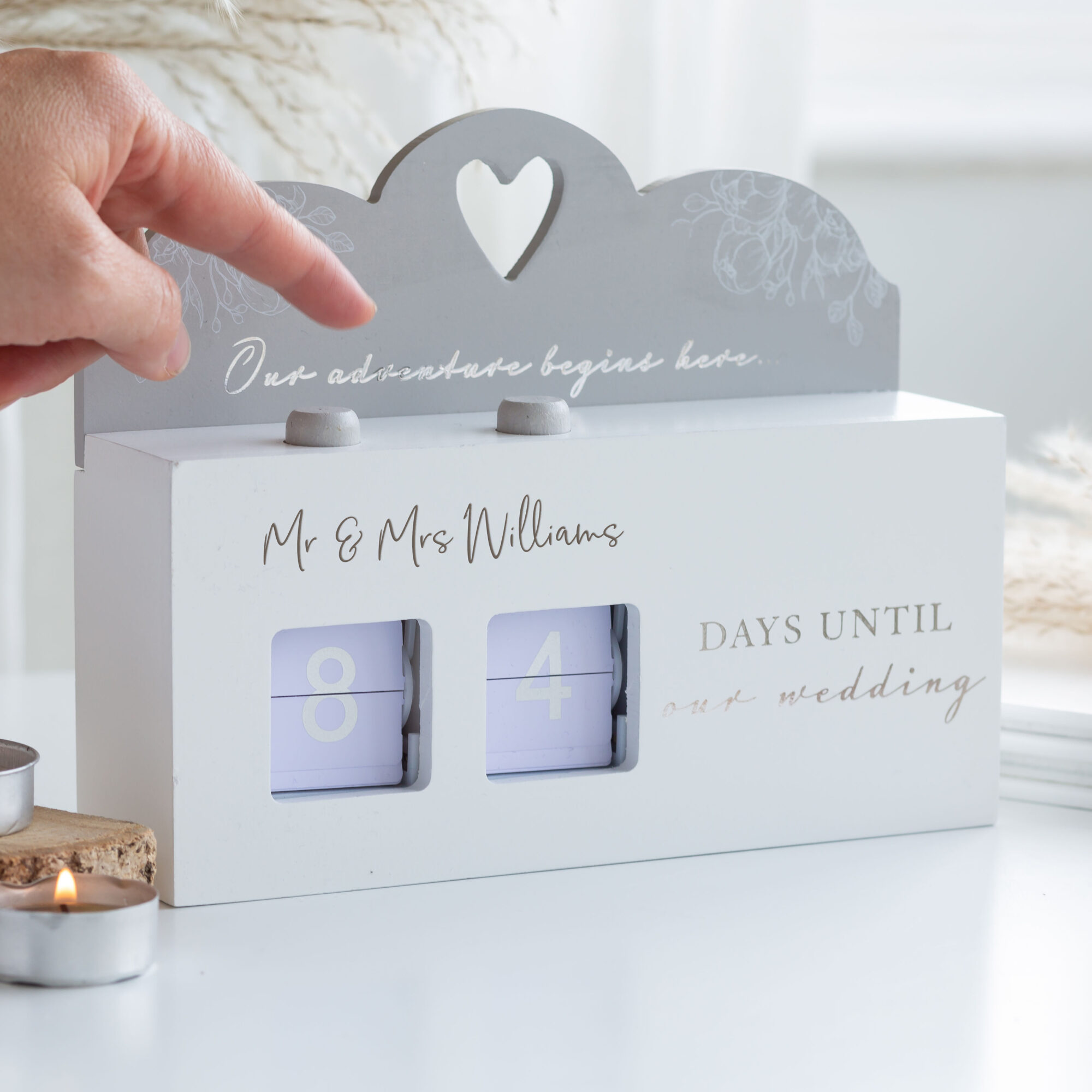 Personalised White & Silver Wooden Wedding Countdown Calendar.