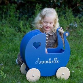 Personalised Kids Royal Blue Wooden Push Along Pram