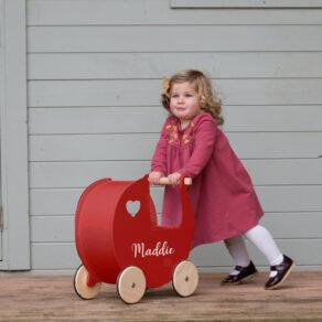 Personalised Kids Red Wooden Push Along Pram