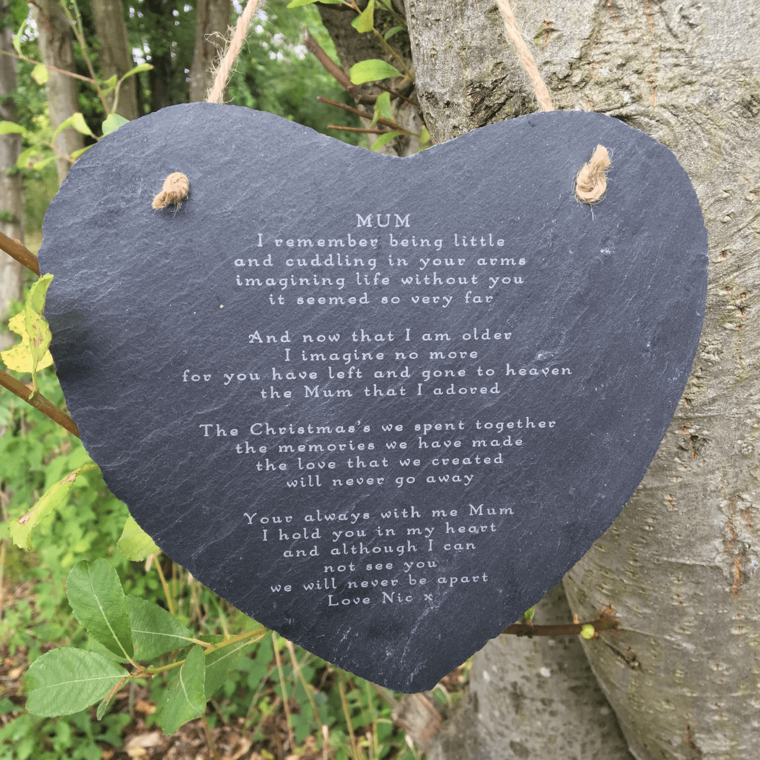 Memorial Slate Heart Decoration