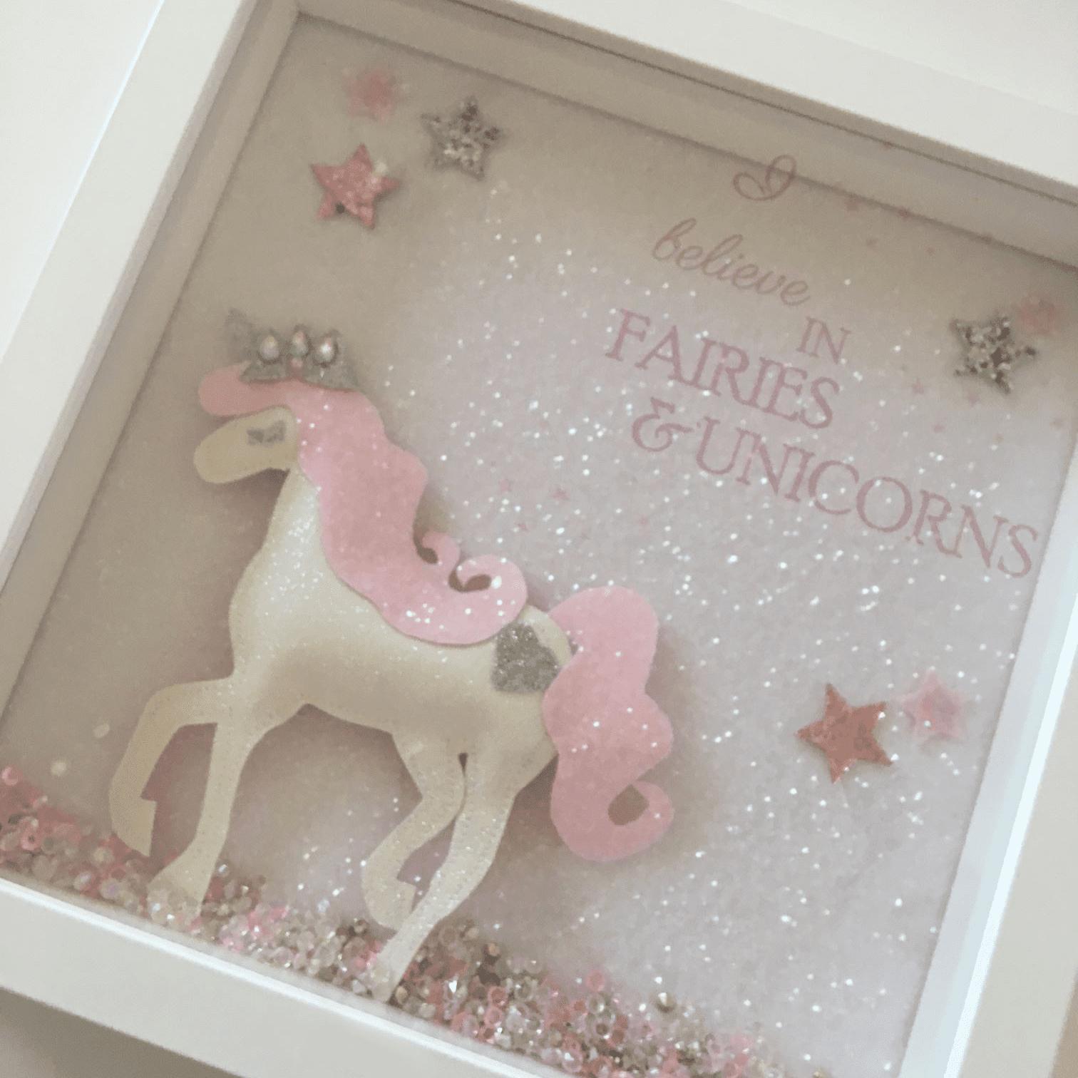 'I Believe in Fairies & Unicorns' Full Glitter Frame
