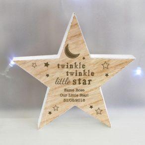 Twinkle Twinkle Rustic Wooden Star Decoration