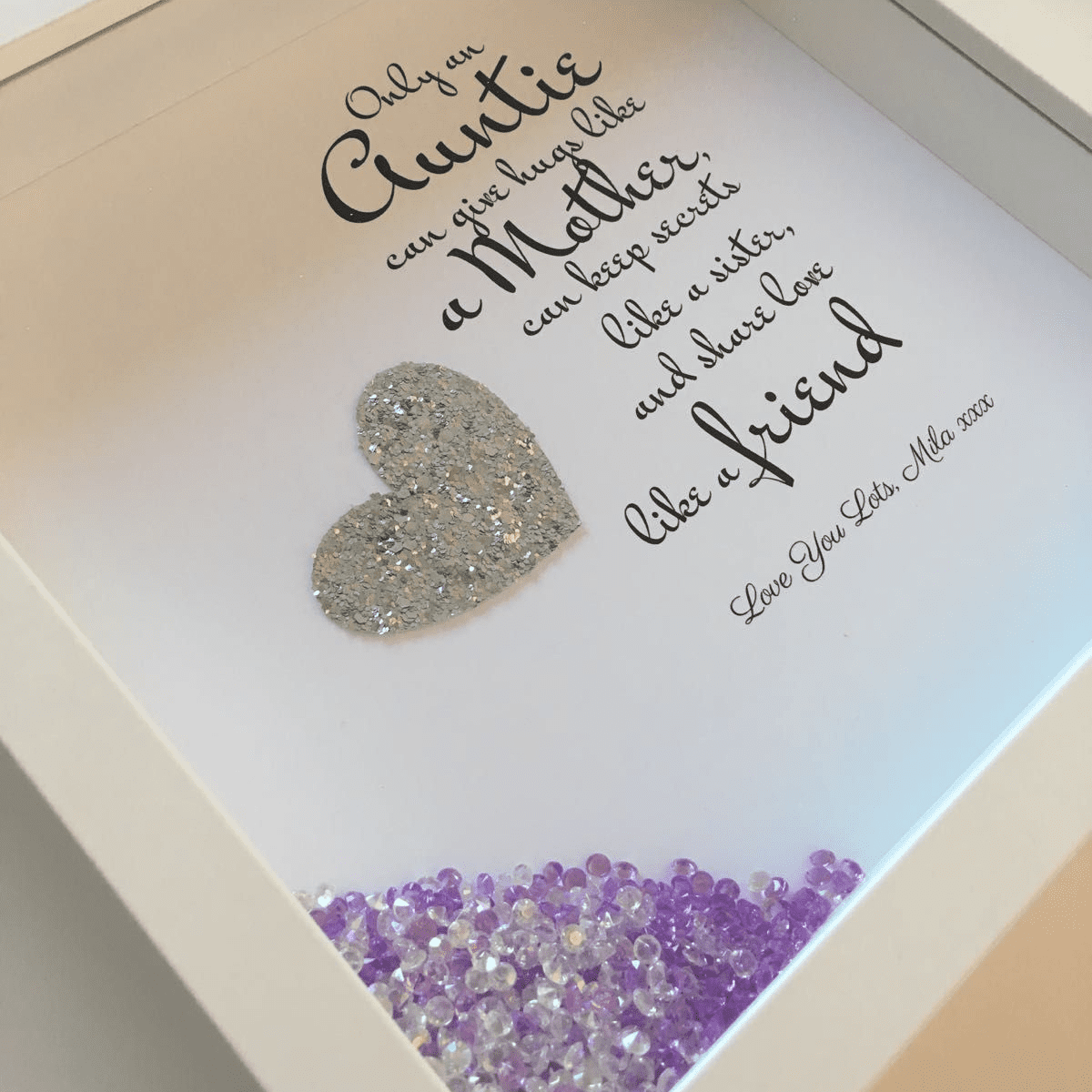 Personalised Only an Auntie Heart Frame