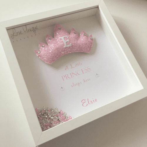 Personalised Glitter Crown Frame
