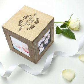 Personalised Happy Mother's Day Oak Photo Cube Photo Box