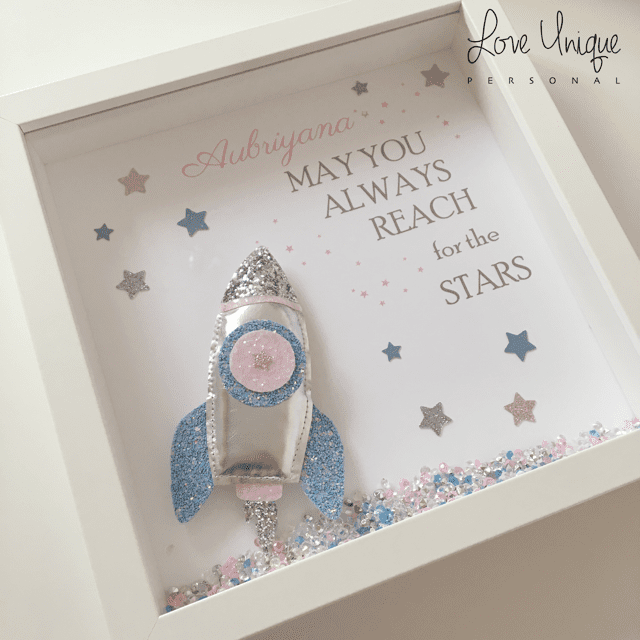 Pink & Blue May You Always Reach For The Stars Rocket Frame