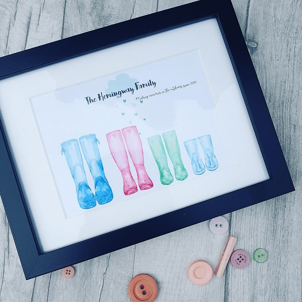 Personalised Framed Wellington Boot Print