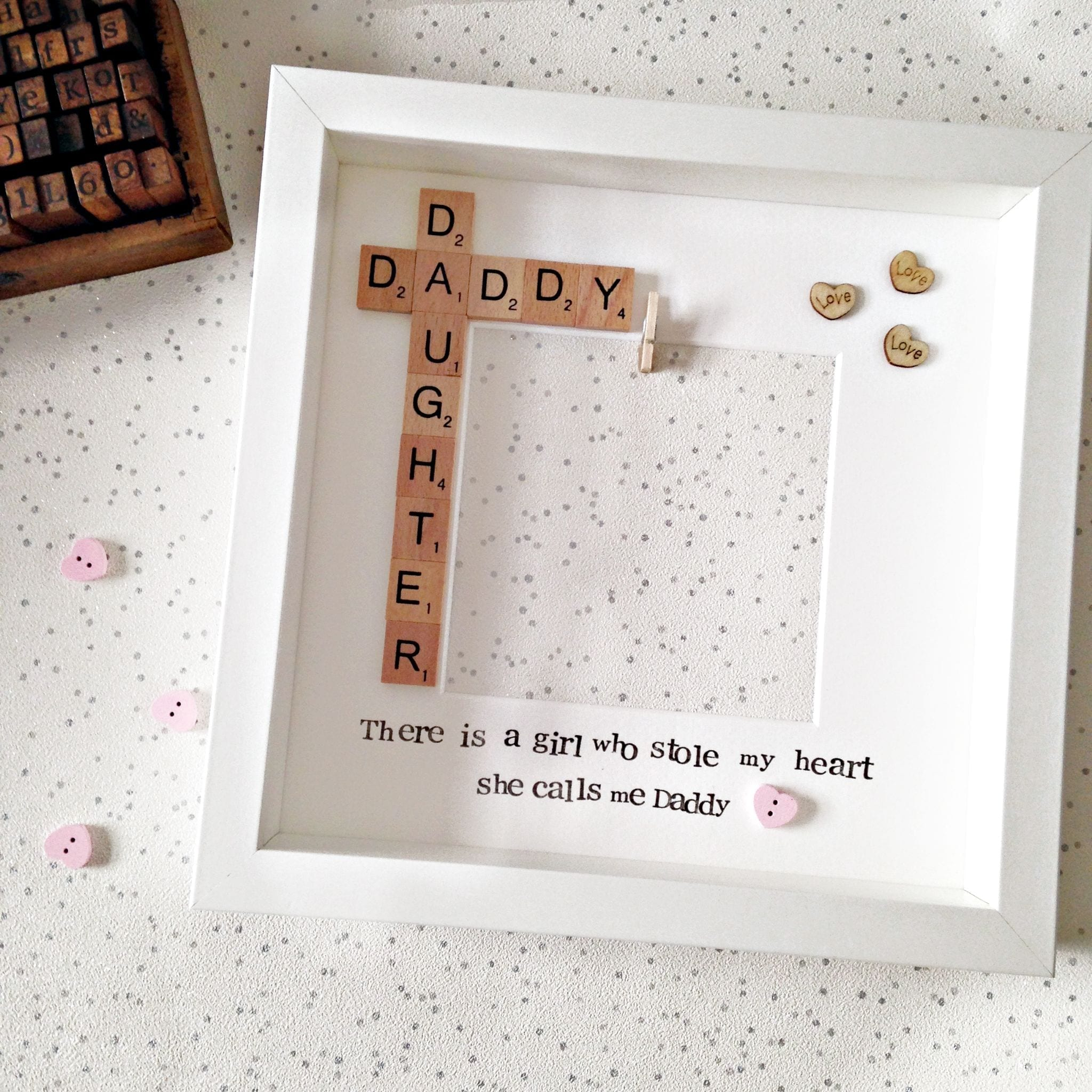 Daddy and Daughter Pink Peg in Photo Frame